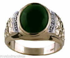 Mens Jade Ring with Diamonds set in 14K Yellow or 14K White Gold