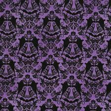 RJR HOCUS POCUS GHOSTS PAISLEY BATS ON PURPLE COTTON FABRIC BTY