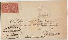 ROVERCHIARA - TONDOLO RIQUADRATO 1892 SU LETTERA COMPLETA DI DOCUMENTO (VERONA)