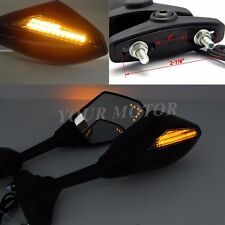 Universal LED Turn Signal Motorcycle Rear view Side Mirrors For Yamaha Suzuki MT