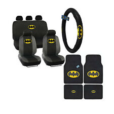 New 14pcs Set Batman Classic Shield Logo Front Rear Back Car Full Seat Covers
