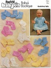 HAYFIELD 7016 BABIES QUICK KNIT4PLY KNITTING PATTERN BOOTIES MITTENS DRESS COAT
