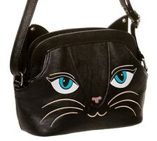 Banned Apparel BLACK CAT FACE Carino Kitty animale Borsa a tracolla piccola