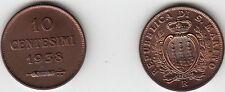 SAN MARINO CENTESIMI 10 RAME CENT.  ROSSO FDC 1938 RARA UNC RED DA ROTOLO ZECCA