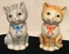 VTG Otagiri Japan Blue,Yellow  Kitty Cat Kitten Salt  Pepper Shakers Pink Bows