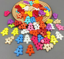 100 Mixed Colors Resin Buttons Sewing Scrapbooking Christmas tree Buttons 18mm
