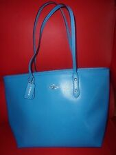 $295 Coach City Zip Tote Crossgrain Leather AZURE NEW NWT F36875 BEAUTY BLUE