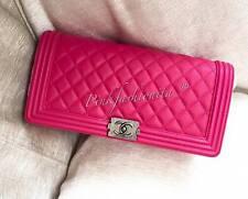 BNIB Chanel Boy fuschia fuchsia Pink Lambskin Clutch RHW Flap Bag complete