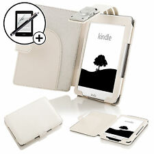 Piel Funda Color Blanco con LED Luz Amazon Kindle 2016 Protector De Pantalla