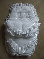 White Broderie Anglaise Pram/Pushchair Quilt/Footmuff/Cosytoes Liner for Baby