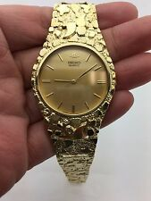 "New Seiko Quartz Men's 10K Solid Yellow Gold Nugget Style Round 7.5""Wrist Watch"