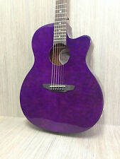 Trans Purple Gypsy Series Quilted Ash 4/4 Acoustic-Electric Guitar GYP E QA TPP