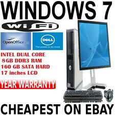 Completa Dell Dual Core Desktop Tower Pc & Tft ordenador con Windows 7 & Wifi 8 Gb