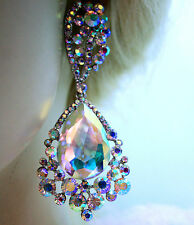 Chandelier Earrings Rhinestone Bridal Prom Pageant Austrian Crystal 3.4 inch AB