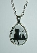 Kette schwarze Katze Foto unter Glas im Metallrahmen oval Träne Cabochon Kitty