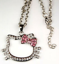 Hello Kitty Silver Pink Bow Swarovski Crystal Necklace Fashion Jewelry