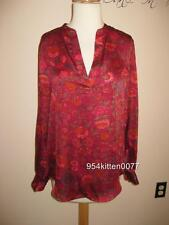 *WOW* $98 NWT RALPH LAUREN RED FLORAL PRINT L/S TOP BLOUSE SMALL
