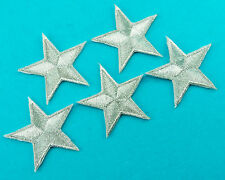 5 SILVER METALLIC STAR Yellow Embroidered Iron Sew On Jacket Hat Patch FREE SHIP