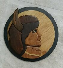 "HANDMADE WOOD INDIAN/BUFFALO WALL PLAQUE-SCROLL SAW ARTWORK ~8""~ ""TOMASKI"" MAKER"