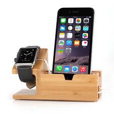 Bambus USB Laden Dock Station Display Ständer Halterung für iPhone iWatch