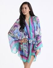 "NWT GOTTEX ""DRAGONFLY"" SILK PRINTED BELTED KIMONO TUNIC TOP COVERUP KAFTAN OS"