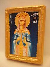 Saint Alexandra Agia Alexandra Rare Greek Eastern Orthodox Icon on Pine Wood