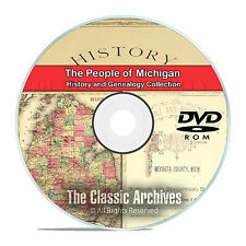 Michigan MI, People, Cities, Towns, History and Genealogy 31 Books DVD CD B07