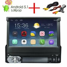 "7""1DIN Android 5.1 Car Radio RDS Motorized Bluetooth GPS Sat Nav + Camera"