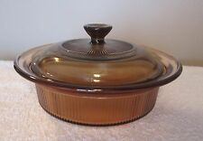 Corning Amber VISIONS  Round Casserole Dish Small _ Excellent Condition