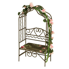 Reutter Porzellan Garden bench with Rose arch Wire Garden Arbor Dollhouse 1:12