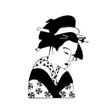 Japanese GEISHA unmounted asian style rubber stamp, oriental #12