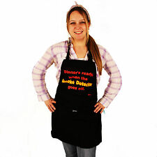 Grimm Dinner's Ready Fire Smoke Detector Goes Black Adjustable Apron Pocket NWT
