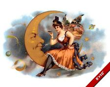 VINTAGE FAIRY WOMAN SITTING ON THE MOON CIGAR AD POSTER ART REAL CANVAS PRINT