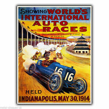 WORLD'S AUTO RACES 1914 Motor Racing Vintage Advert METAL WALL SIGN PLAQUE