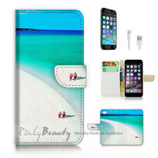 iPhone 6 6S (4.7') Flip Wallet Case Cover! P2176 Beach