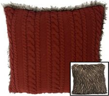 """TK337 Big 16"""" Red Cable Knit Throw Pillow w/Faux Fur Back Cabin Lodge Animal"""