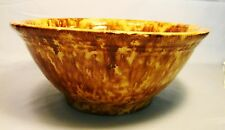 Antique Yellow Ware Flint Enamel Sponge Rockingham Glaze Bowl 19th c