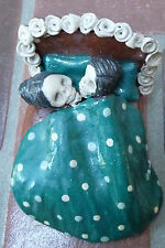 """Ceramic Couple in Bed for Day of the Dead (4 1/2"""" long) circa 1999"""