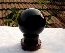500g HOT SELL NATURAL OBSIDIAN POLISHED BLACK CRYSTAL SPHERE BALL 70MM +STAND