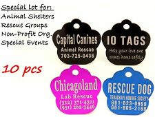 MADE IN USA Shelter Non Profit Pet ID Tag Dog and Cat for Rescue  Lot 10