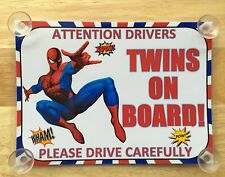 Superheroes Spiderman Twins On Board Car Laminated Sign