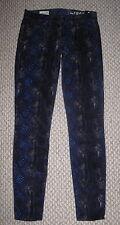 NWT GAP BLUE PURPLE BLACK SNAKE PRINT CORDUROY 24 SKINNY LEGGING ANKLE JEANS