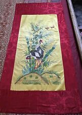 "Antique Chinese Panel Wall Hanging Hand Embroidery On Silk Art Textile 30"" X 62"""