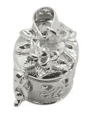 Round Scrolled with Flower Silver Wish Prayer Box Locket Charm or Pendant