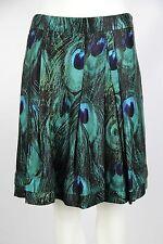 Etcetera Womens 6 Blue Green Peacock Print Lined Rayon Silk Blend A-Line Skirt