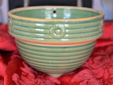 Vintage Antique 2 QRT GREEN EARTHENWARE RIBBED POTTERY MIXING BOWL w Feet