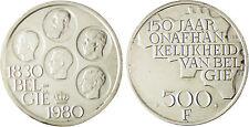 BELGIQUE  ,  500  FRANK  ARGENT  1830 - 1980  ,  SUPERBE