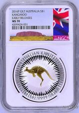 2016 P Australia GILDED Silver Kangaroo NGC MS 70 1 oz Coin w/OGP gilt NEW LABEL