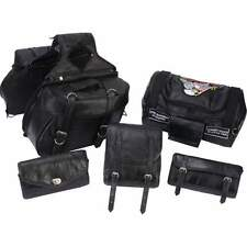 6pc Black Leather Motorcycle Bag Set Saddlebag Luggage Sissy Barrel Windshield