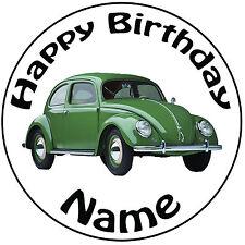 """Cumpleaños Personalizado VW BEETLE Redondo 8"""" fácil Precortada Glaseado Cake Topper"""